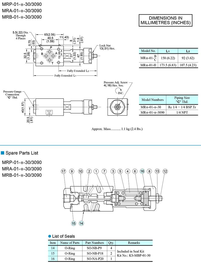 bản vẽ kích thước van modular yuci yuken mr-01