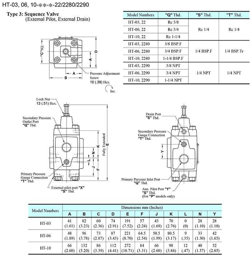 bản vẽ kích thước van yuci yuken ht-03-06-10