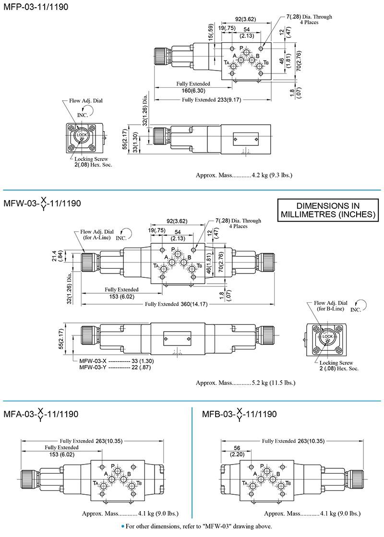 bản vẽ kích thước van yuci yuken mf-03