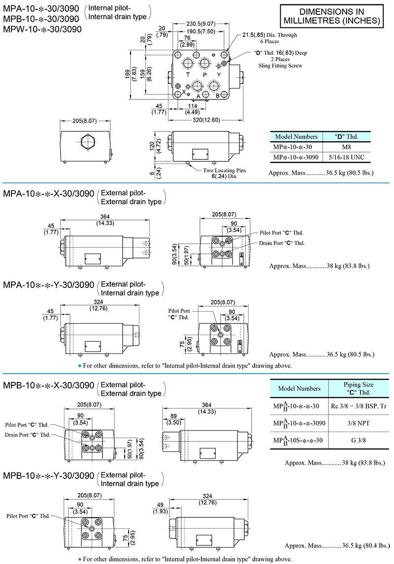 bản vẽ kích thước van yuci yuken mp-10