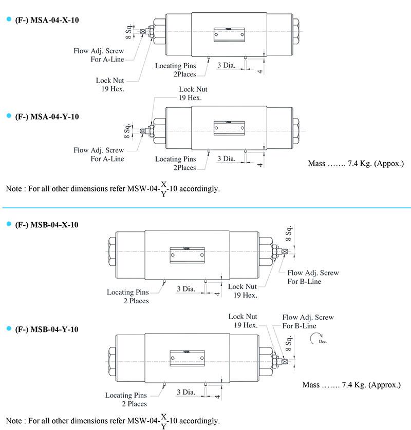 bản vẽ kích thước van yuci yuken msa msb 04
